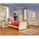 Holland House My Room Drawer Dresser and Photo Mirror - 2291-01+02 - Shown With Nightstand, Sleigh Bed, and Drawer Chest