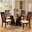 Holland House New York Dining Table w/ Glass Top - 2653-G7040+PED - Shown with Side Chairs