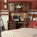 Holland House Petite Louis 2 Drawer Desk with Rollout Keyboard Drawer - 456-44 - Shown with Hutch