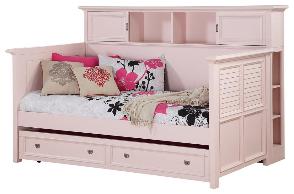 Pretty In Pink Twin Bookcase Daybed w/ Trundle Storage at Rotmans