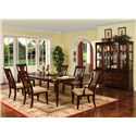 Holland House Sansom Place Buffet & Hutch China Cabinet - 2214-68B+H - Shown with Dining Table, Arm Chairs, and Side Chairs