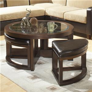 Homelegance 3219 Round Cocktail Table with 4 Ottomans