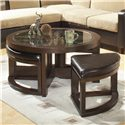 Homelegance 3219 Round Cocktail Table with 4 Ottomans - Item Number: 3219PU-01