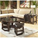 Homelegance 3219 Round Cocktail Table with 4 Ottomans - Shown with coordinating end table