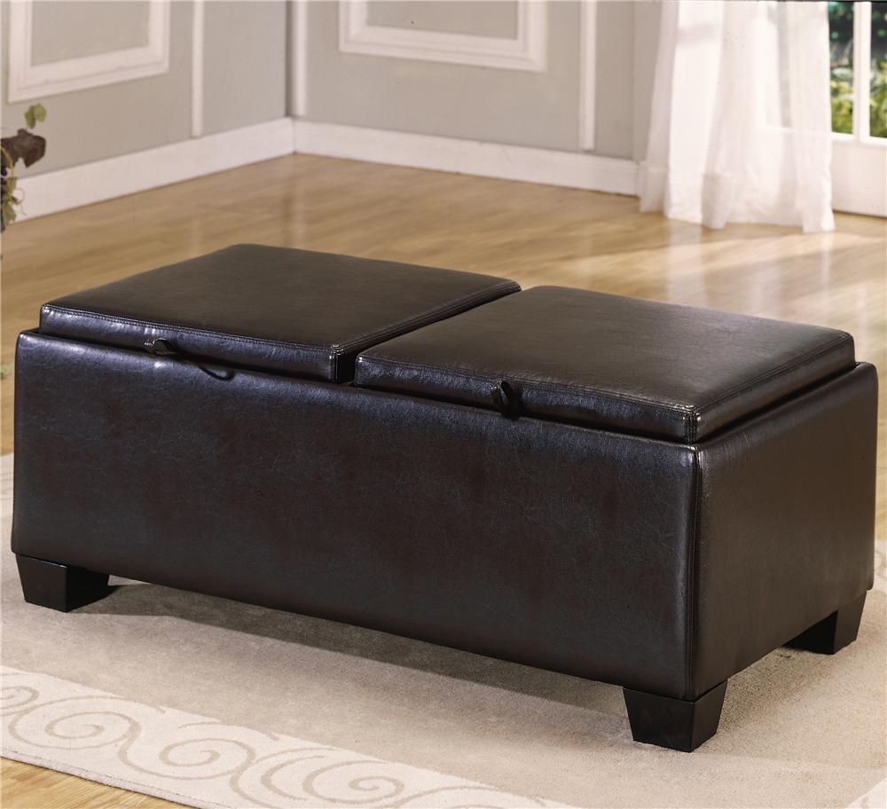 PVC Ottoman with 2 Storage/Covers