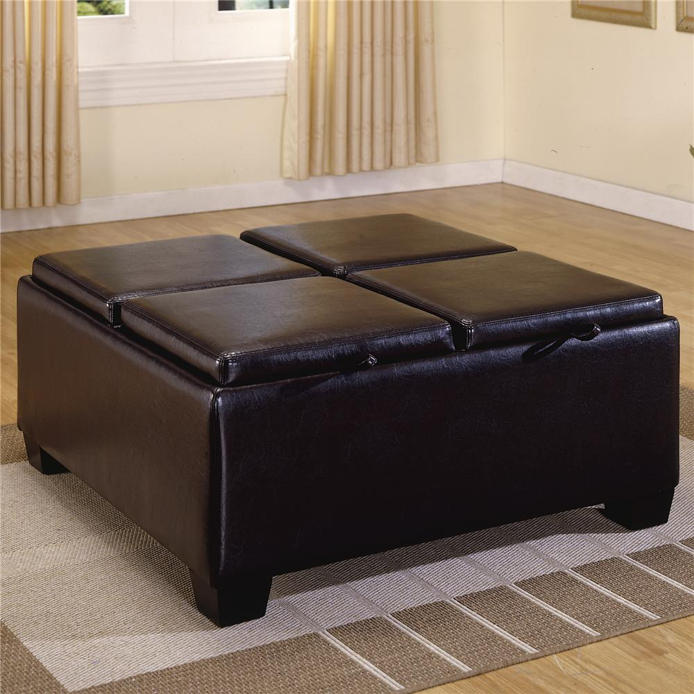 Homelegance 458-459 PVC Ottoman with 4 Storage/Covers  - Item Number: 459B-PU