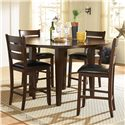 Homelegance 586 Round Counter Height Four Drop Leaf Table  - Shown with Counter Height Chairs