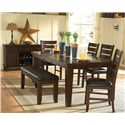 Homelegance Ameillia Rectangular Dining Table, Dark Oak Finish - Shown in Dining Room with Ladder Back Side Chairs, Bench, and Server
