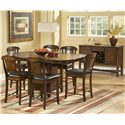 Homelegance 626 Counter Height Table with One Leaf - Shown with Counter Height Chairs and Server