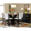 Homelegance 710 Counter Height Dining Table - Shown in Room Setting with While Stools and Server
