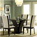 Homelegance 710 Round Glass Trestle Dining Table - Shown With Side Chairs