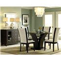 Homelegance 710 Round Glass Trestle Dining Table - Shown With Server and Side Chairs
