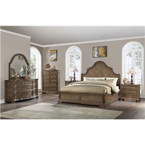 Queen Panel Bed, Dresser, Mirror & Nightstan