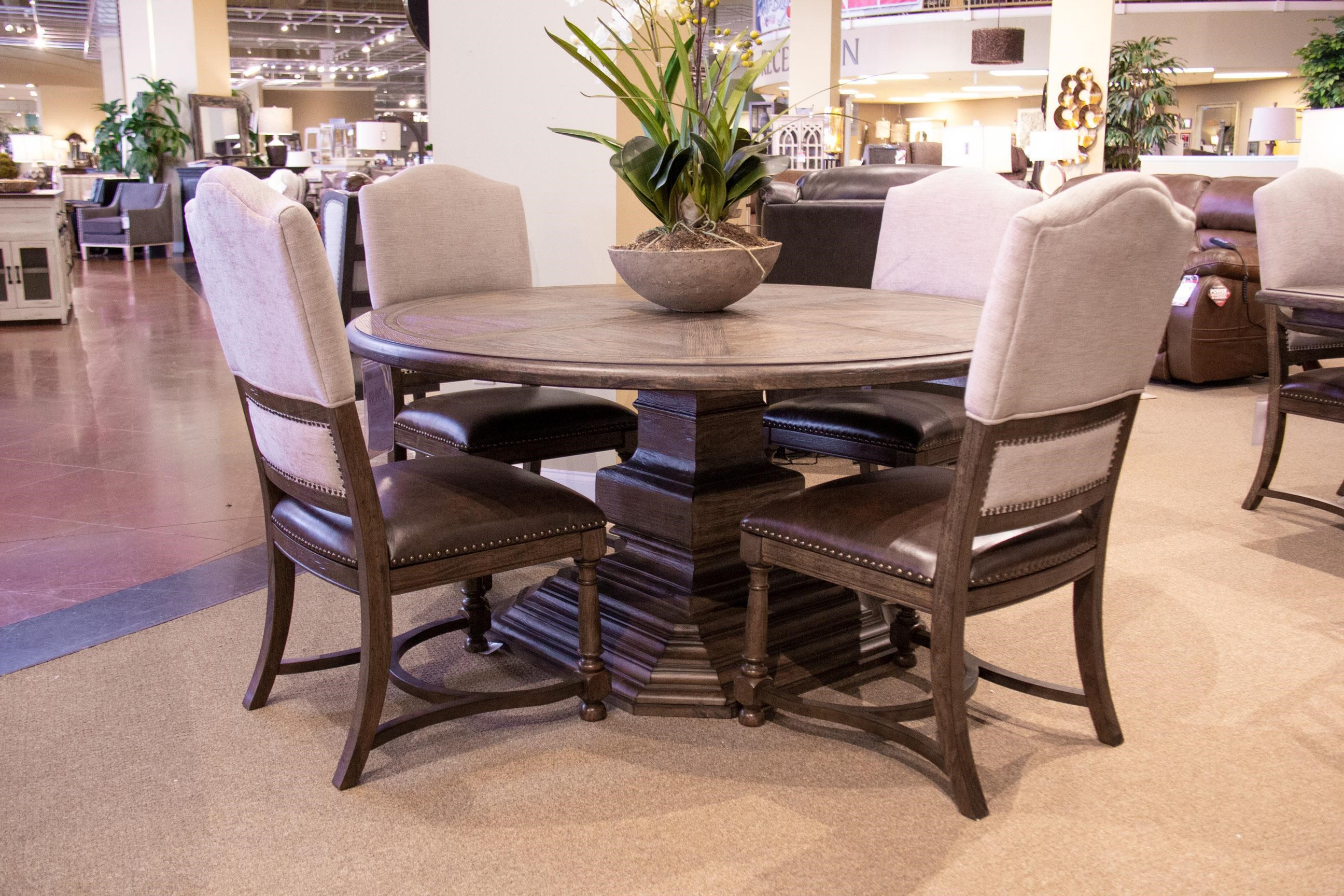 Pedestal Table & 4 Upholstered Side Chairs