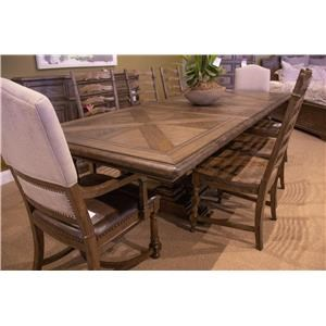 Trestle Dining Table, 2 Upholstered Arm Chai