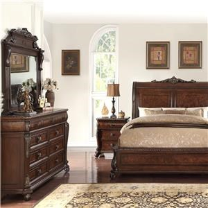 Home Insights Vintage 5 Piece Elizabeth Sleigh Bed Group