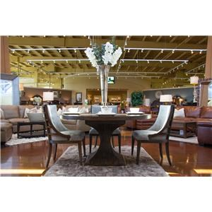 Pedestal Dining Table & 4 Upholstered Dining