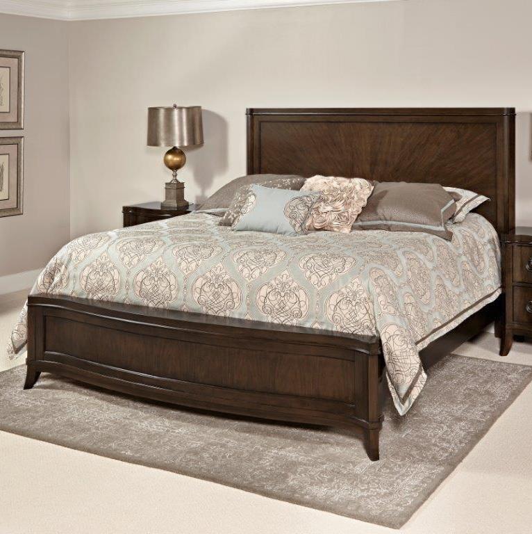 Home Insights Tribeca Bedroom Walnut Curved King Bed - Item Number: GRP-B408-KINGCURVEBED