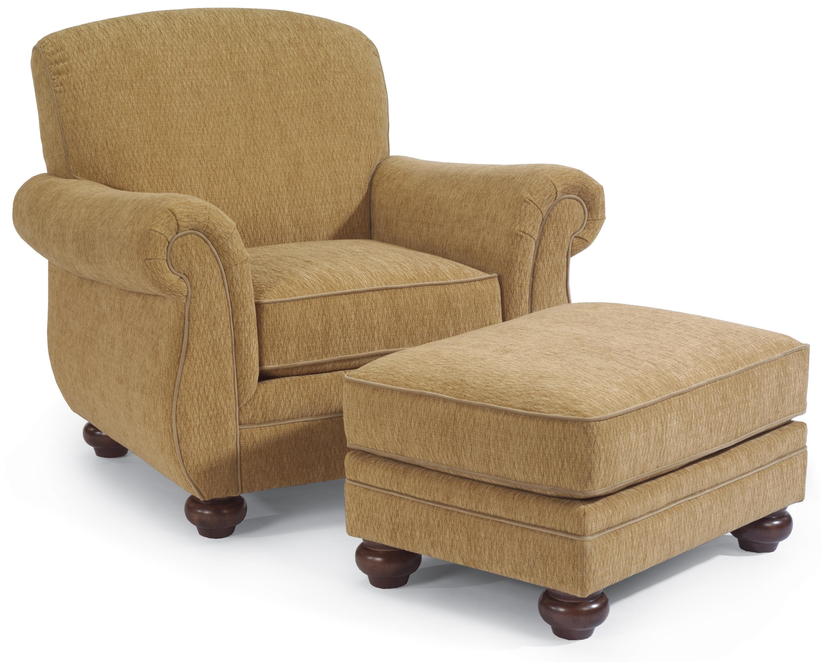 Flexsteel Winston Upholstered Arm Chair With Ottoman Furniture And Appliancemart Chair Ottoman