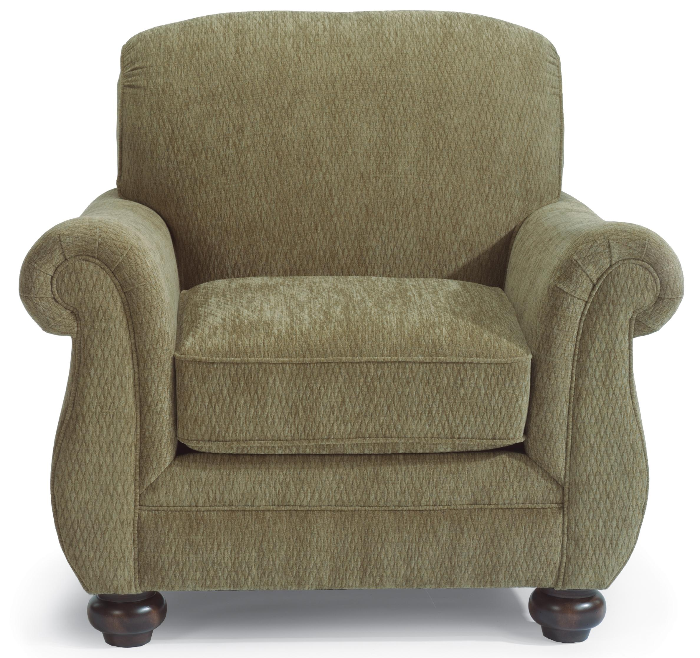 Flexsteel Winston Upholstered Arm Chair With Bun Feet