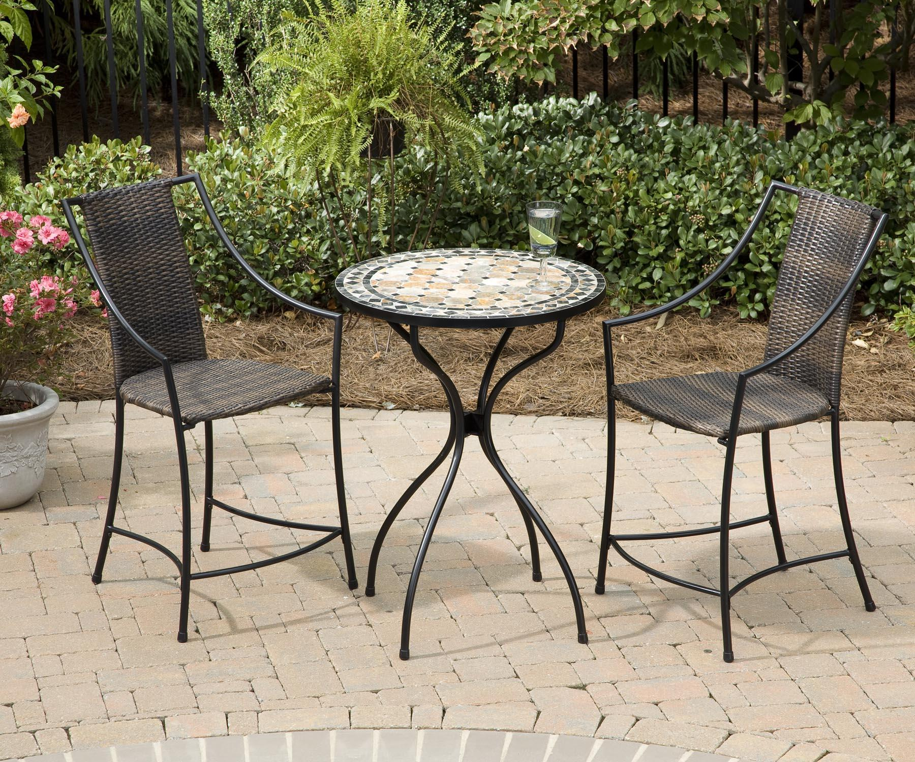 Home Styles Bistro Dining Three-Piece Marble Top Table and Woven ...