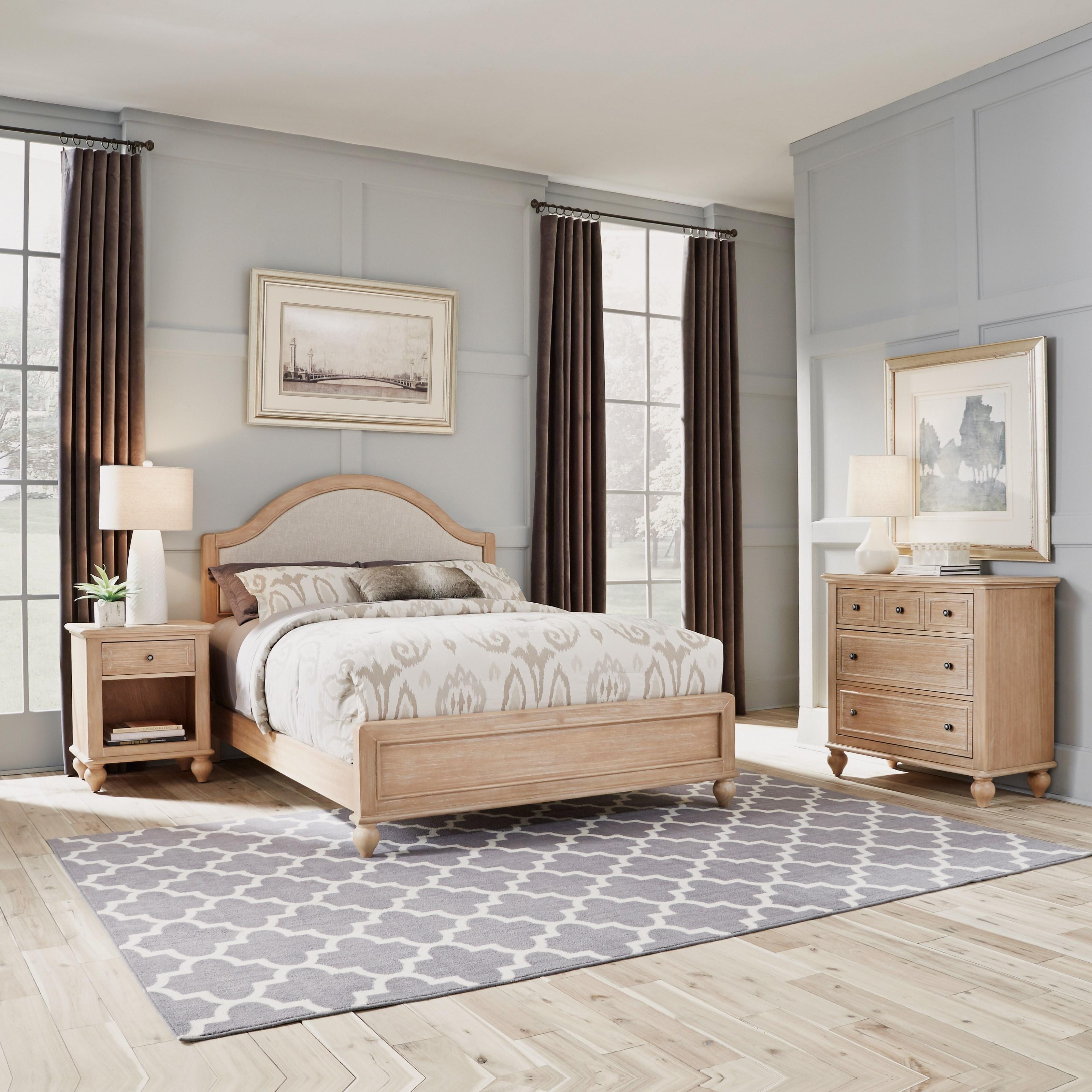 Queen Bed, Nightstand & Chest