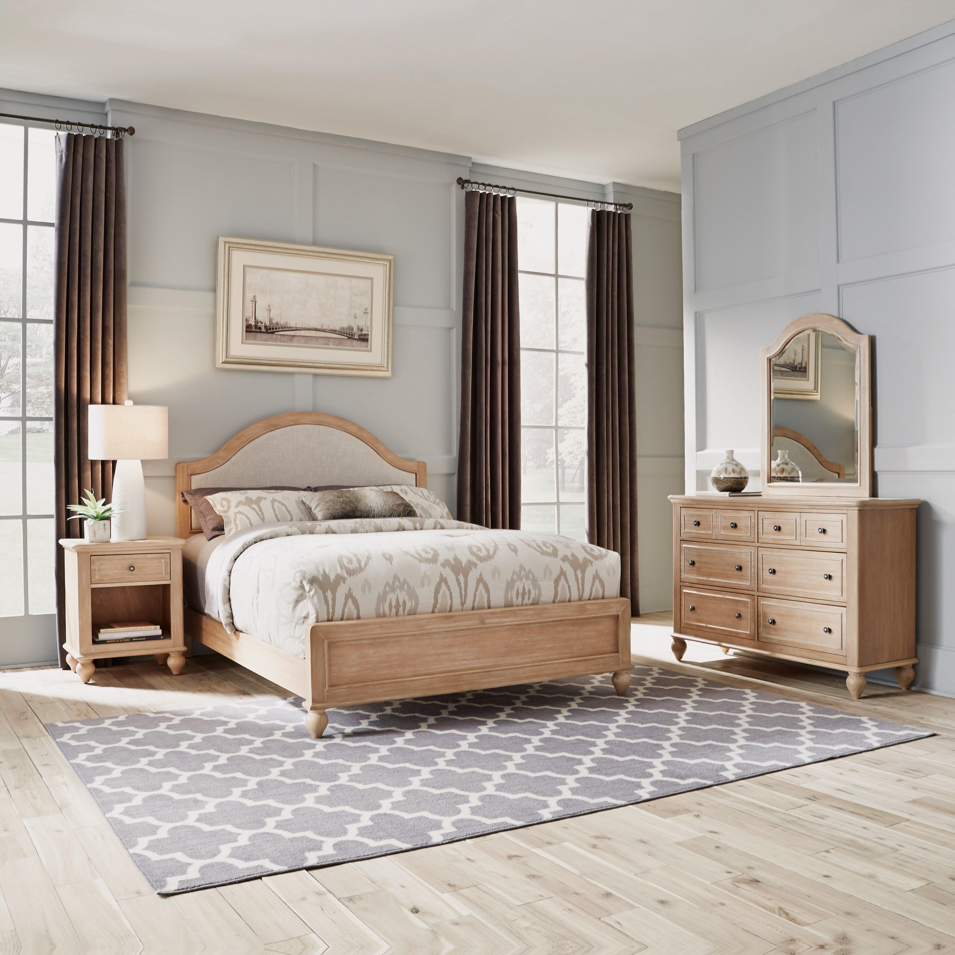 Queen Bed, Nightstand, Dresser & Mirror