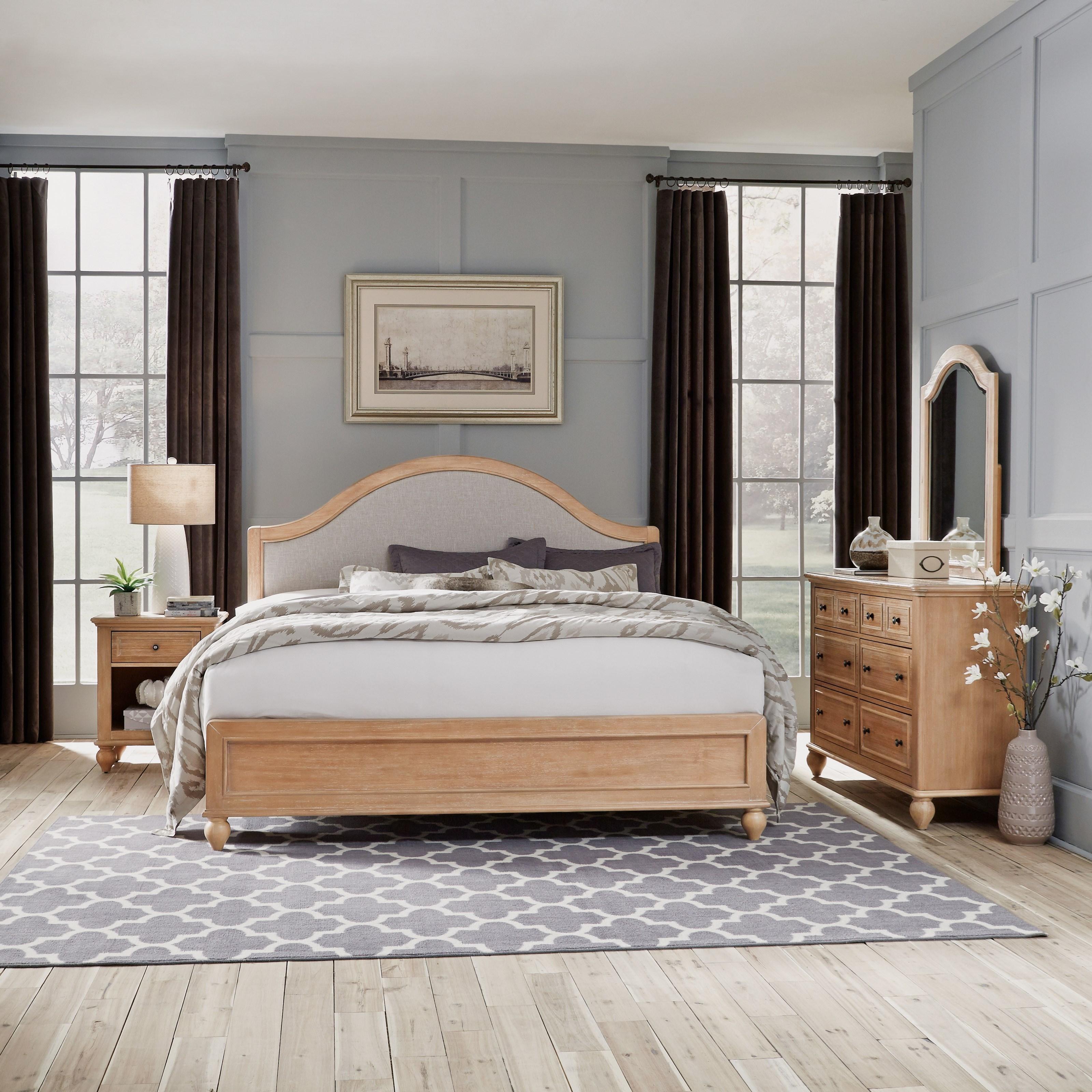 King Bed, Nightstand, Dresser & Mirror