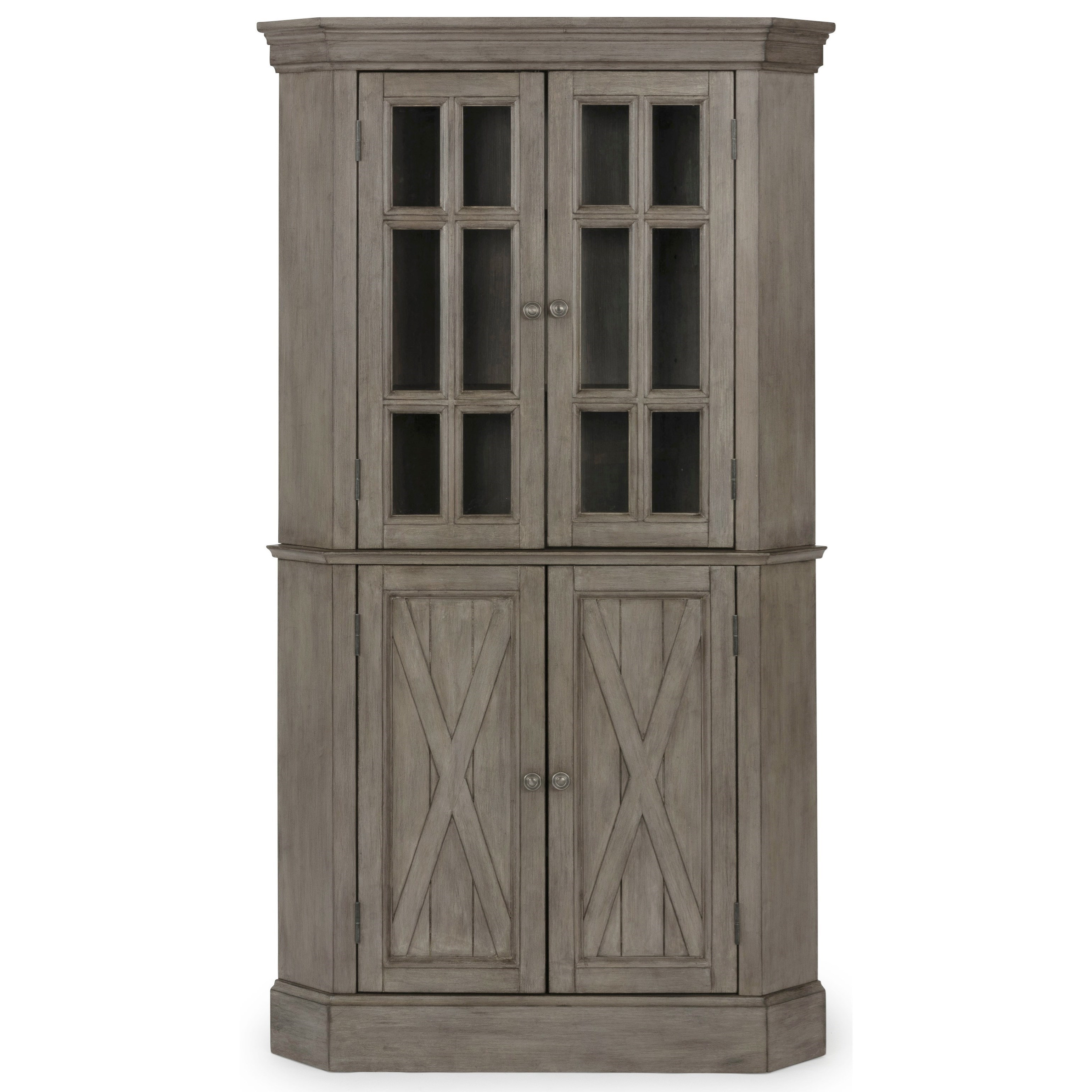 Homestyles Mountain Lodge 5525 68 Farmhouse Corner Cabinet With Adjustable Shelves Sam Levitz Furniture China Cabinets
