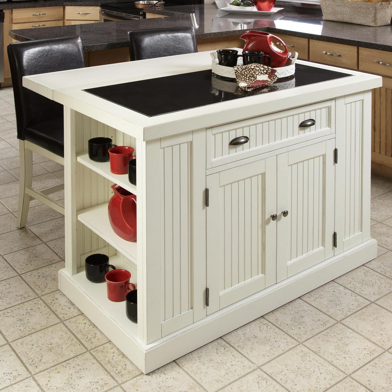 Nantucket three piece kitchen island and vinyl stool dining set by home styles