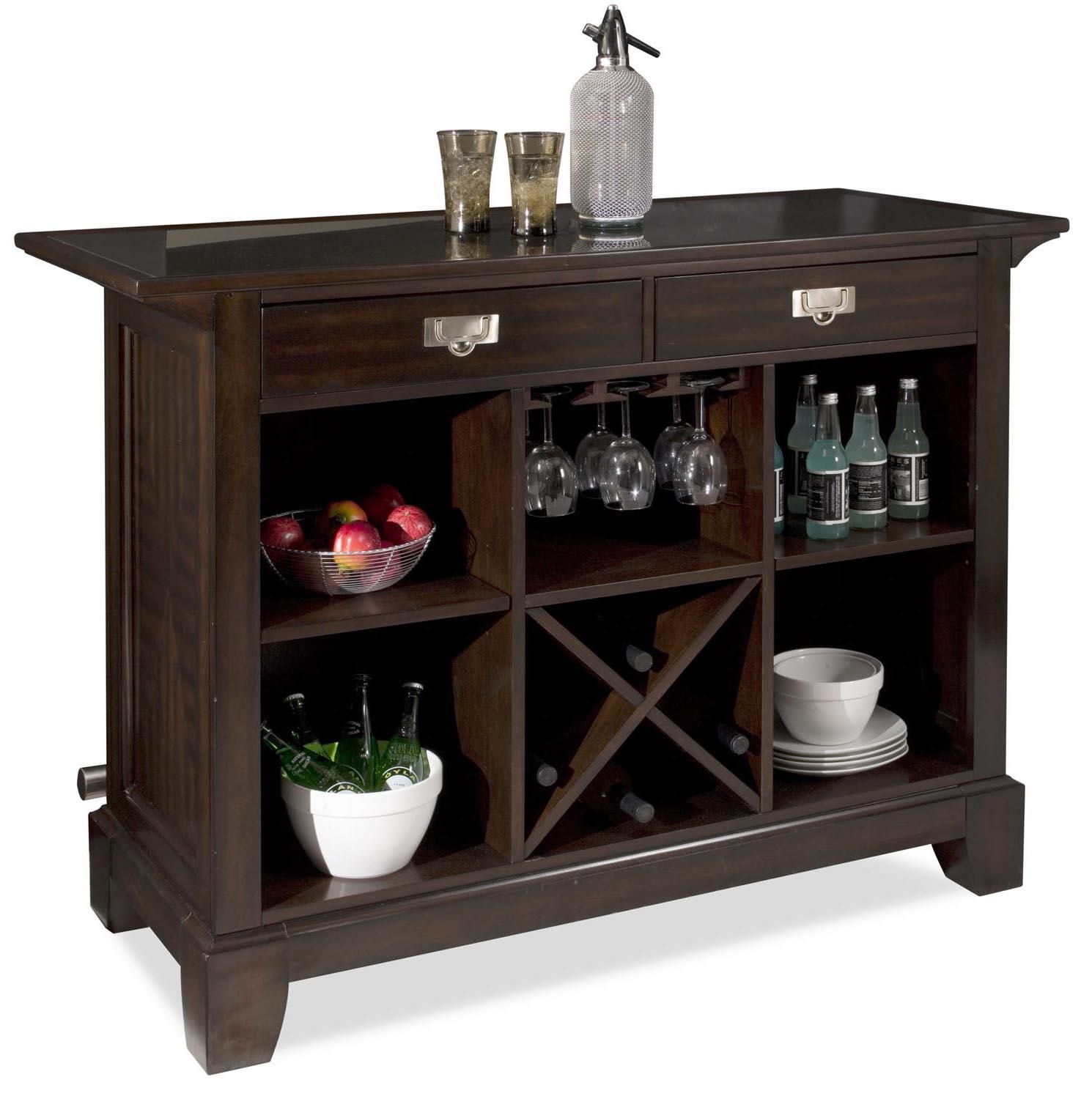 Home Styles Rio Vista Granite Top Bar with Wine Storage and Foot ...