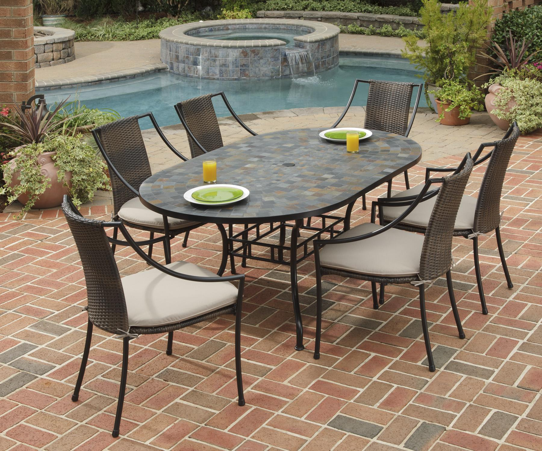 home styles stone harbor 7 piece oval slate top patio table and rh catalog findyourfurniture com slate top patio table set slate top patio table set