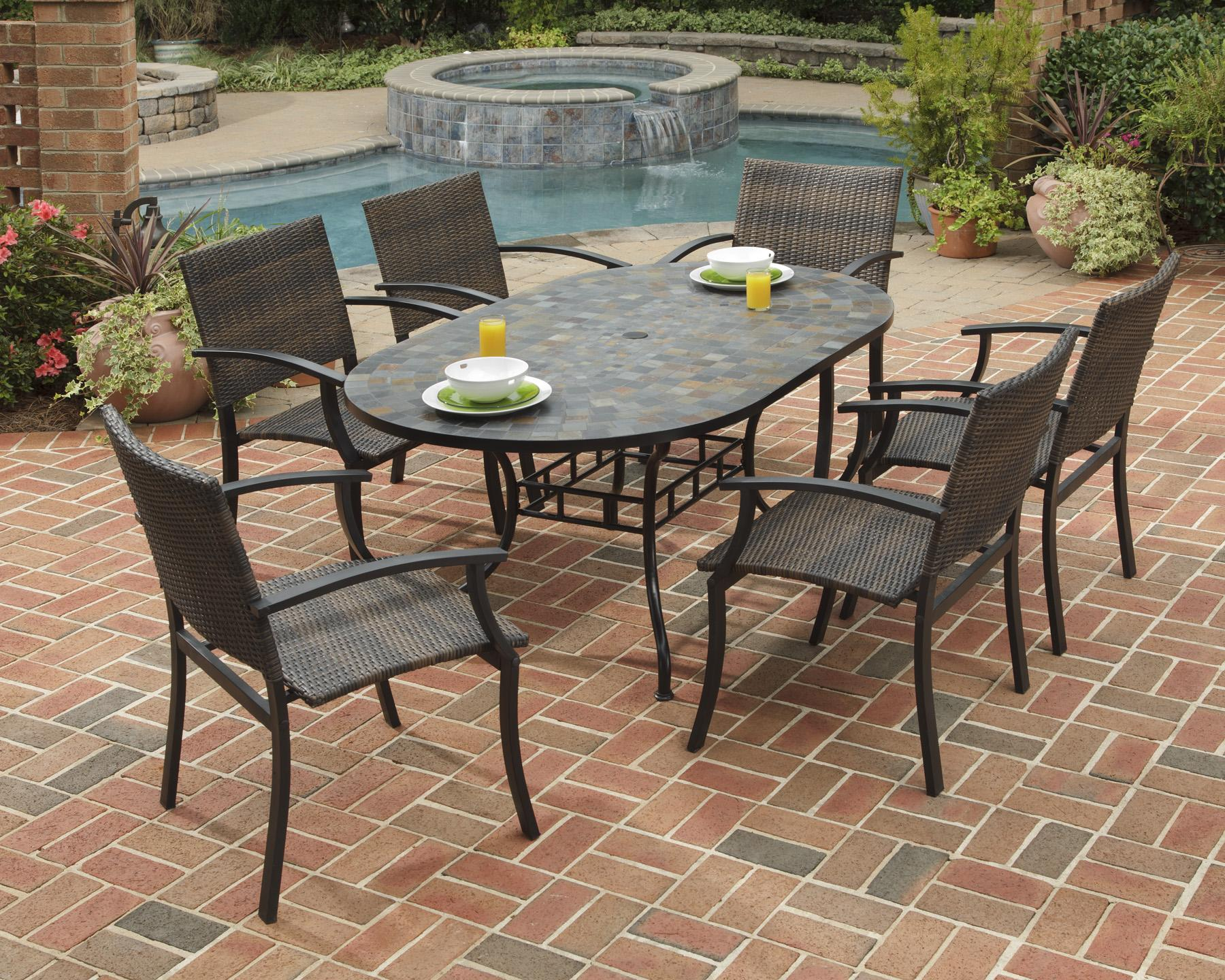 Home Styles Stone Harbor 7 Piece Oval Slate Top Patio Table And Chair  Dining Set   AHFA   Dining 7 (or More) Piece Set Dealer Locator