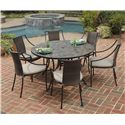 Home Styles Stone Harbor 7-Piece Round Slate Tile Patio Table and Chair Dining Set - 5601-368022