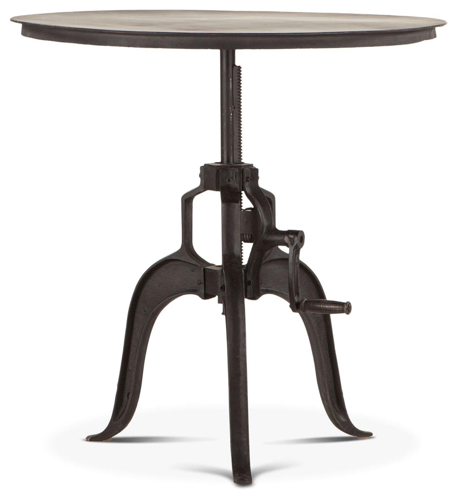 Beglobal Industrial Loft Metal Round Adjustable Base Table Belfort Furniture Pub Tables