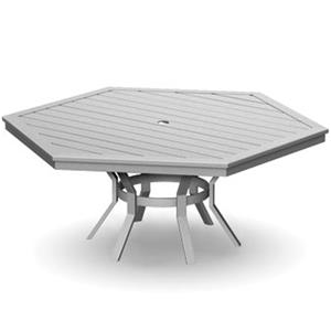 Homecrest Dockside Slat Hexagonal Dining Table