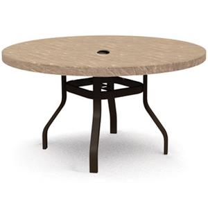 "Homecrest Sandstone 42"" Round Dining Table with Umbrella Hole"
