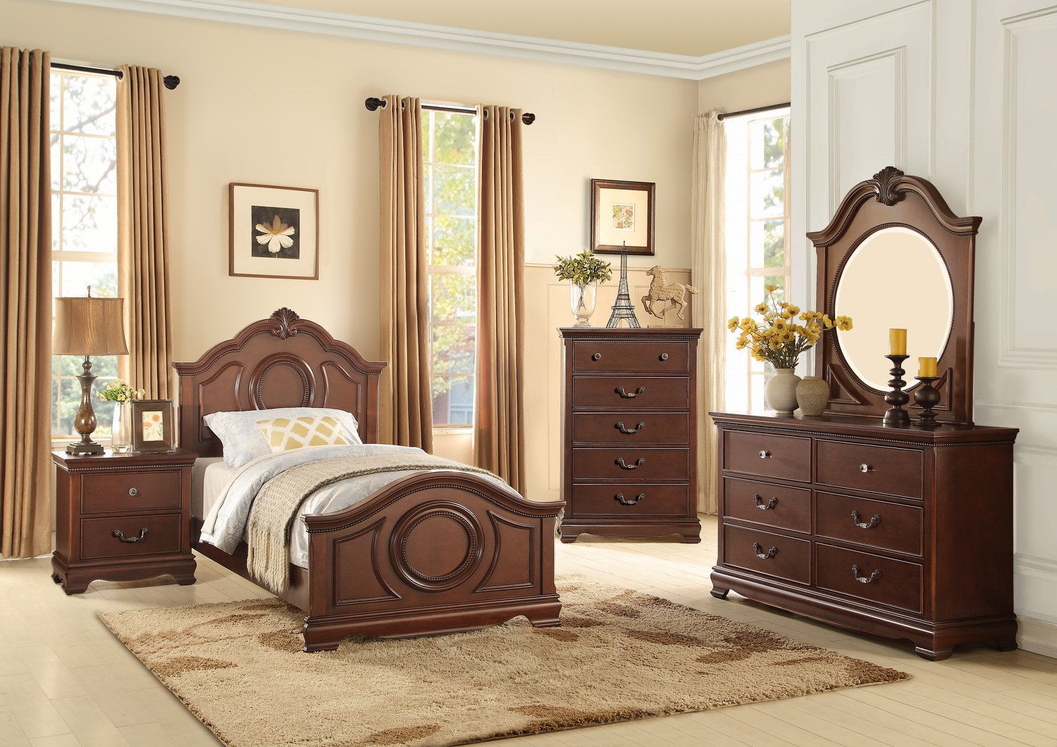 Homelegance 2039C Traditional Twin Bedroom Group - Item Number: 2039C T Bedroom Group 1