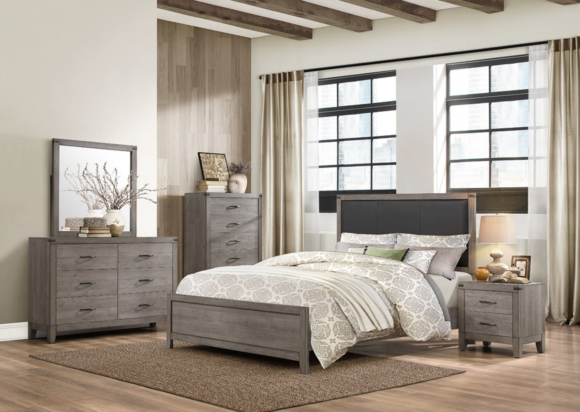 2042 Contemporary Queen Bedroom Group by Homelegance at A1 Furniture & Mattress