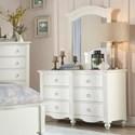 Homelegance Furniture 2058WH Dresser and Mirror Set - Item Number: 2058WH-5+6