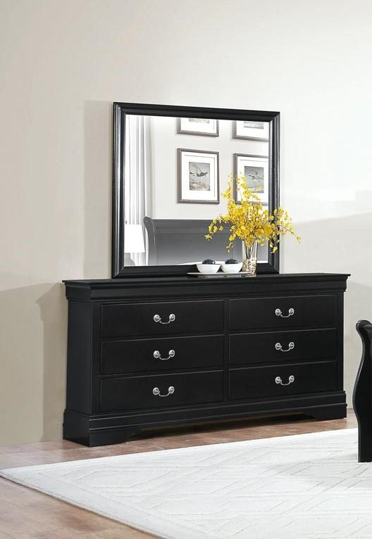 Homelegance Mayville Black Dresser & Mirror - Item Number: GRP-2147-BLACK-D M