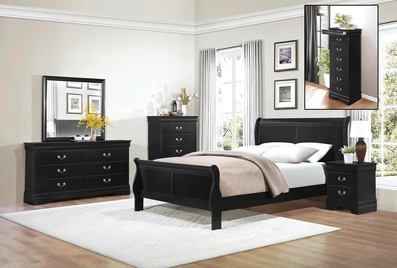 Homelegance Mayville Queen Black Bedroom Group - Item Number: GRP-2147-BLK-QUEENSET