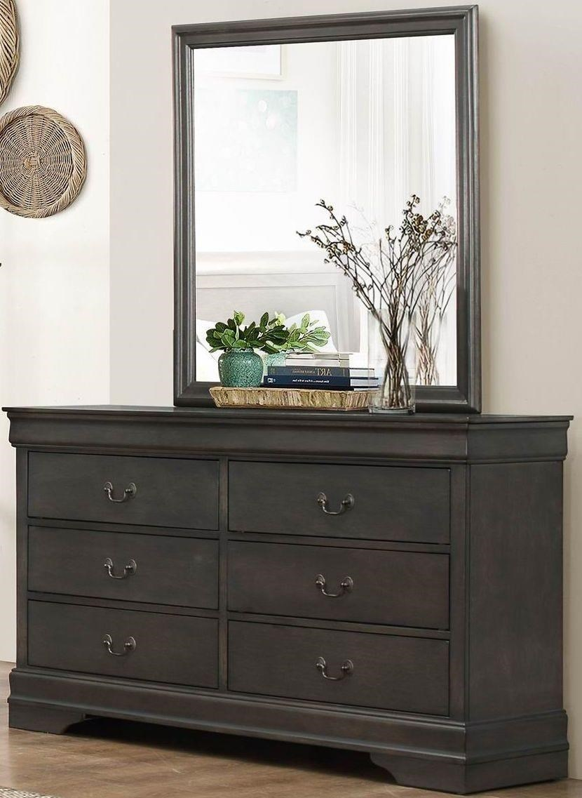 Homelegance Mayville Gray Dresser & Mirror - Item Number: GRP-2147-GRAY-D M