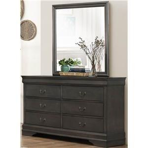 Homelegance Mayville Gray Dresser & Mirror