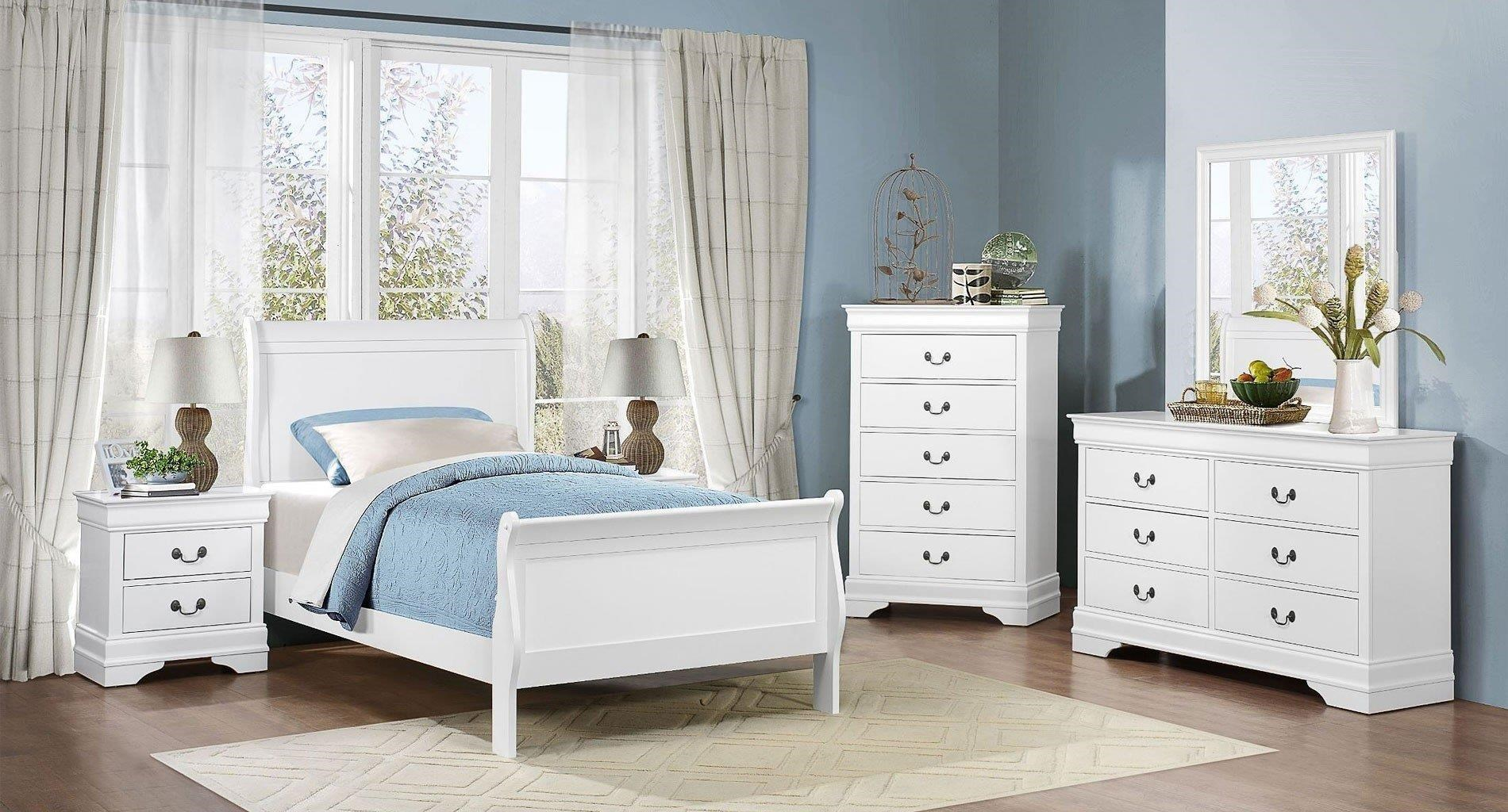 Mayville Full White Bed Dresser Mirror Nightstand By Homelegance At Great American Home Store