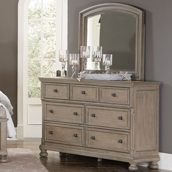 Homelegance 2259GY Dresser and Mirror - Item Number: 2259GY-5+6