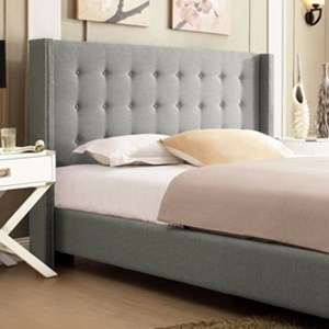 Homelegance 315B Grey King Upholstered Wingback Headboard