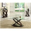 Homelegance 3401W Round End Table with Glass Top - Shown with Cocktail Table & Sofa Table
