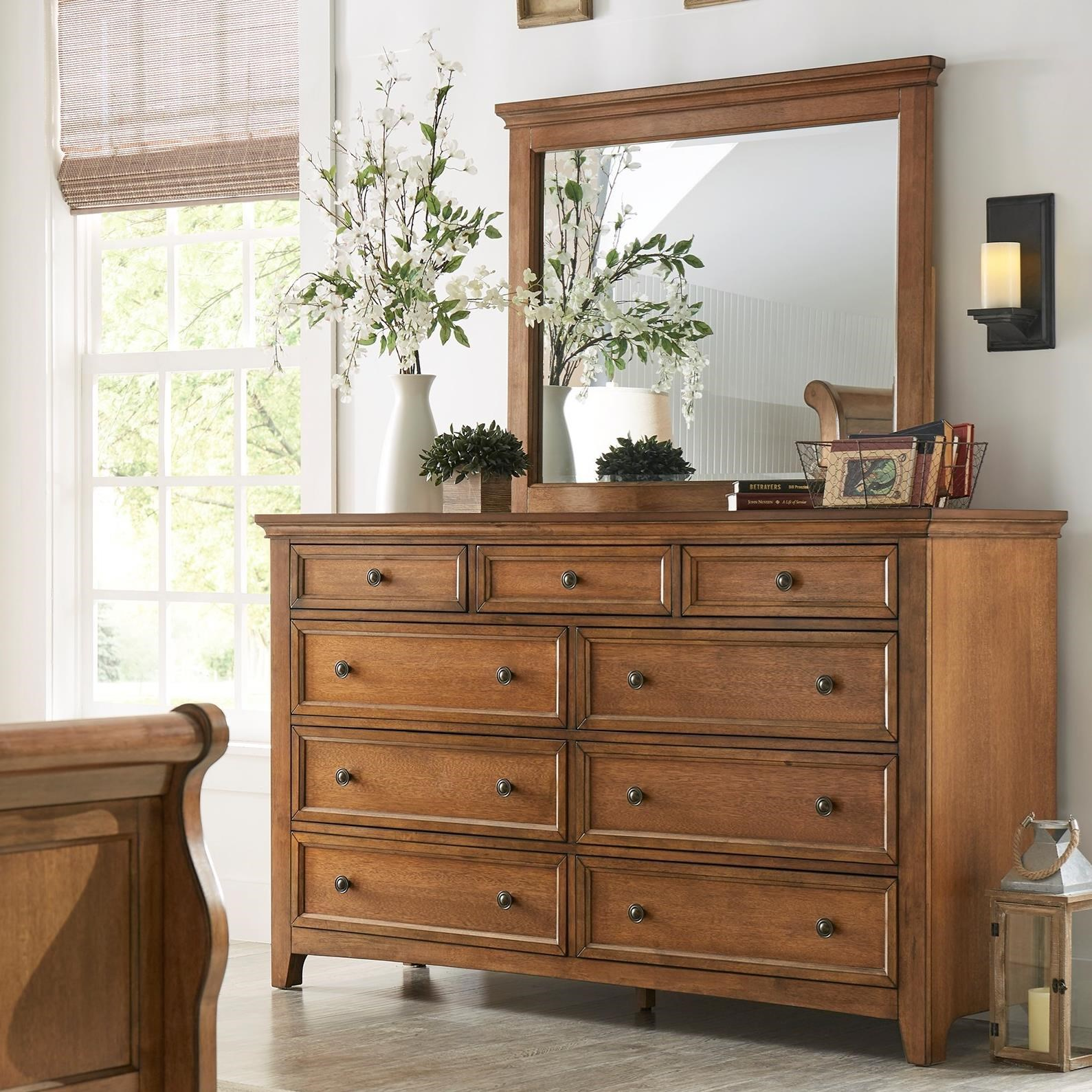 Homelegance 395 Dresser and Mirror Set - Item Number: 395B-5AK+6AK