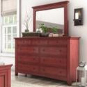 Homelegance 395 Dresser and Mirror Set - Item Number: 395B-5RD+6RD